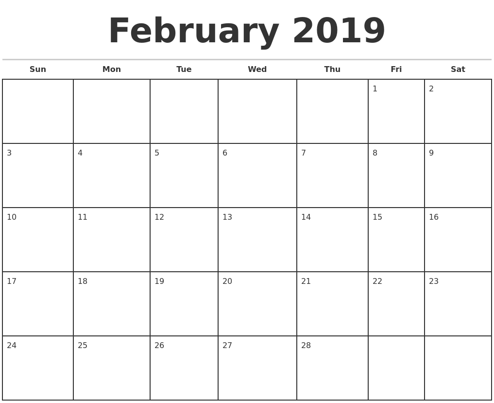 february 2019 monthly calendar template
