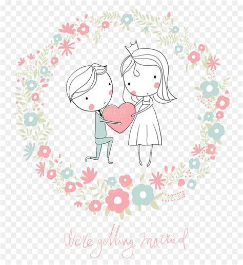 Wedding invitation Cartoon Illustration   Cute cartoon