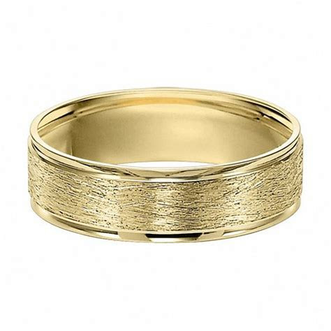Men's 6.0mm Brushed Wedding Band in 10K Gold   Wedding