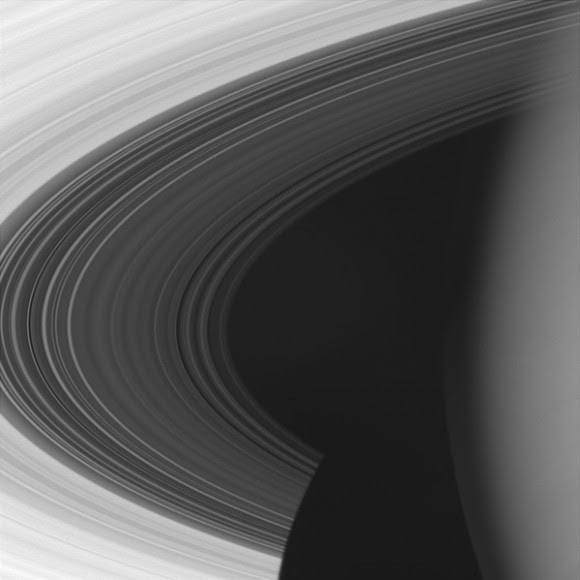 The Cassini spacecraft looks close at Saturn to frame a view encompassing the entire C ring. Image credit: NASA/JPL/SSI