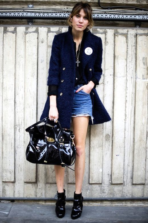 16 Le Fashion Blog 40 Of Alexa Chung Best Looks With Denim Shorts Navy coat Cross Necklace Mulberry Bag Ankle Boots Via Refinery29
