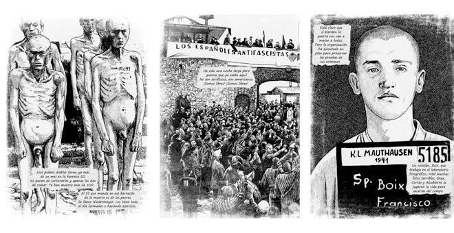 Ilustraciones de Ioannes Ensis para la obra 'Deportado 4443', del periodista Carlos Hernández.
