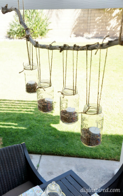 DIY Mason Jar Chandelier for the Patio - HMLP Feature