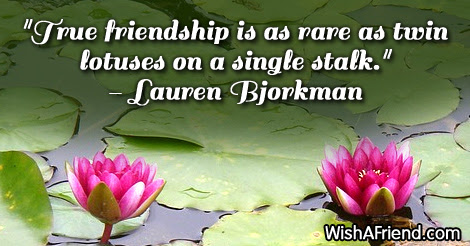 Lauren Bjorkman Quote True Friendship Is As Rare As Twin Lotuses On