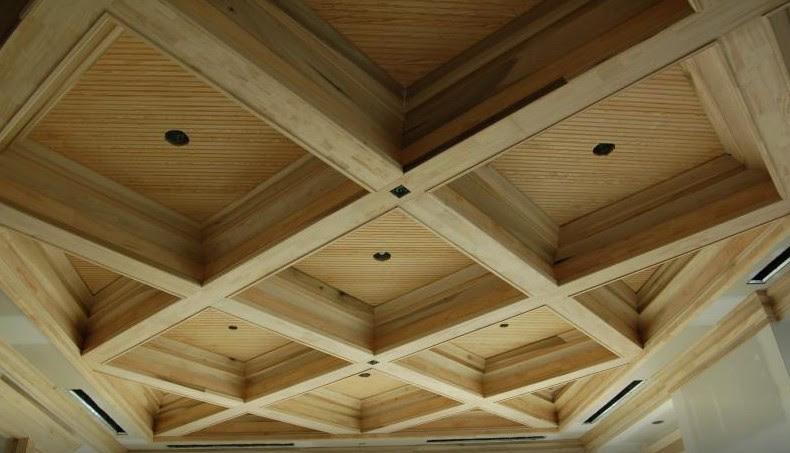 soffitto a cassettoni in legno su misura