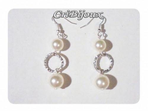 orecchini argento perle bianche