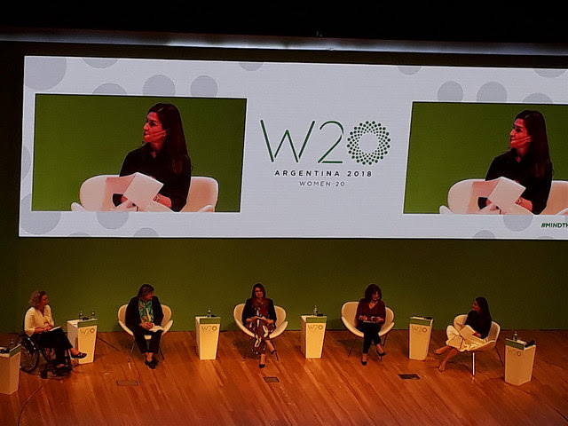 One of the panels of the Women 20 summit in the Argentine capital, which called for fighting the invisibility of rural women, as a prerequisite for advancing toward sustainable development. But the G20 summit itself was criticised by civil society because representatives of corporations dominanted the panels and peasant and indigenous women were conspicuously absent. Credit: Daniel Gutman/IPS