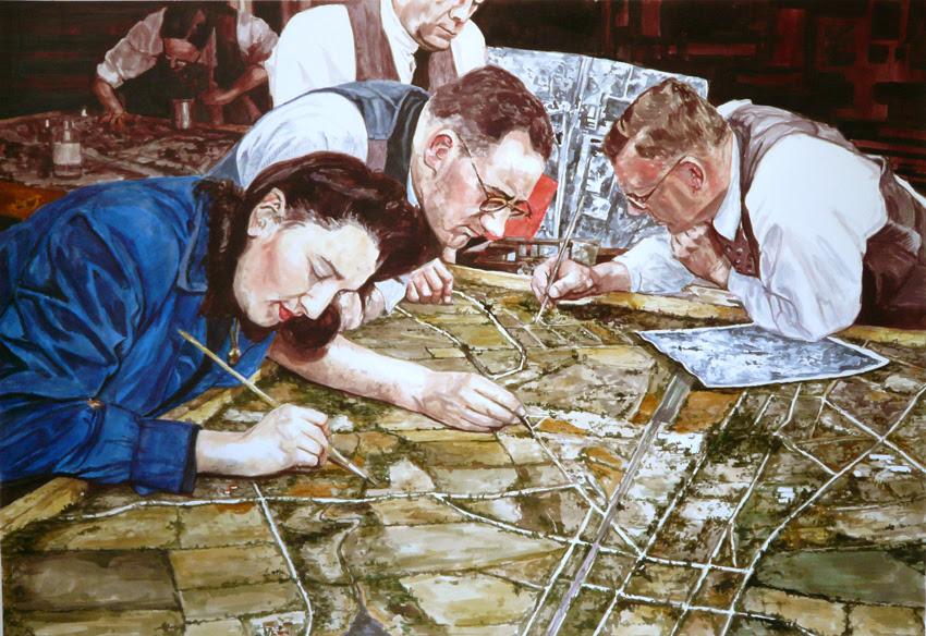 Les Géographes n°34, 2013, aquarelle sur papier, 77 x 107 cm