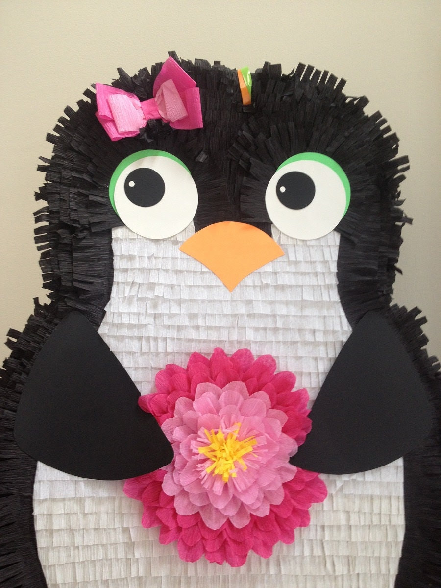 Girl Penguin Pinata.  Large Customizable Penguin Pinata.  Custom Penguin Pinata