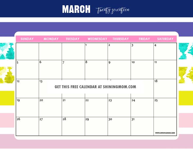 Free Printable March 2017 Calendars: 12 Pretty Designs!