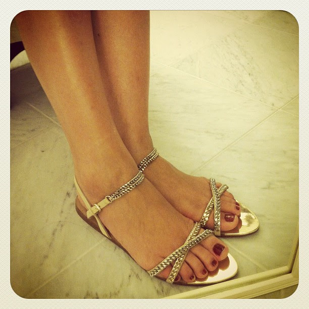 Zara Laminated Chain Sandals