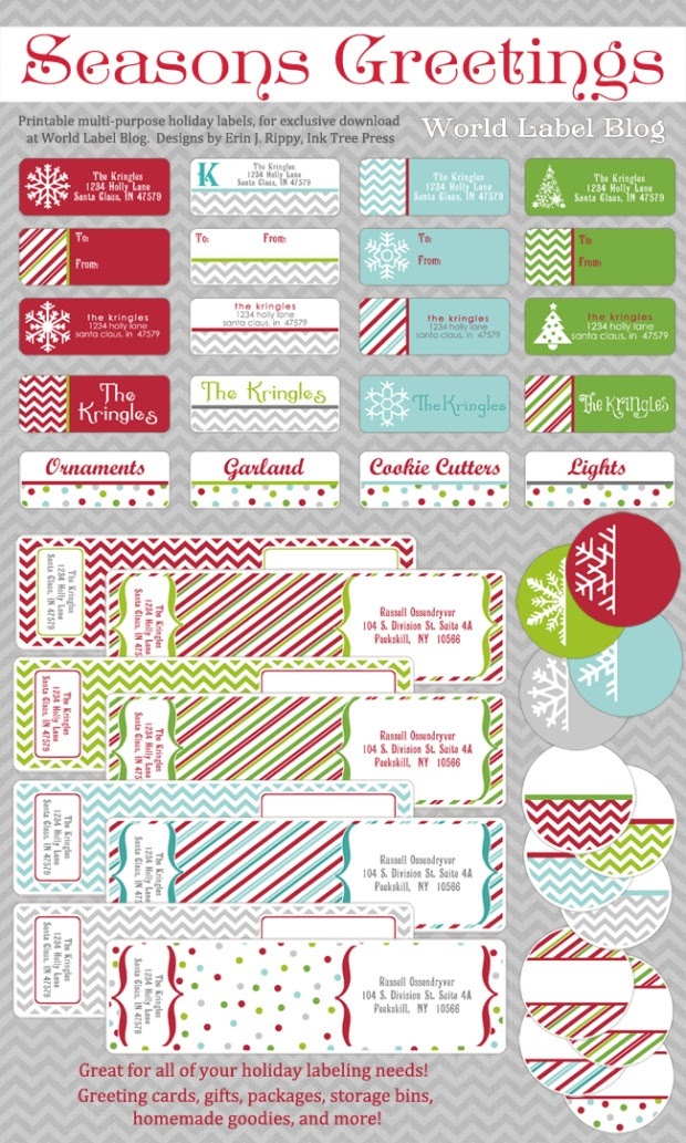 30 Christmas Return Label Template