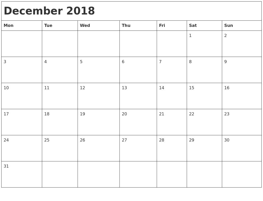 december 2018 month calendar monday start