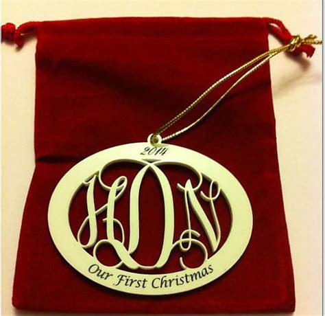 C3   3 Letter Monogram Our First Christmas Ornament