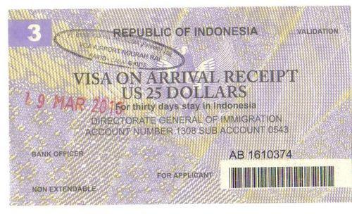 Виза от остров Бали, Индонезия