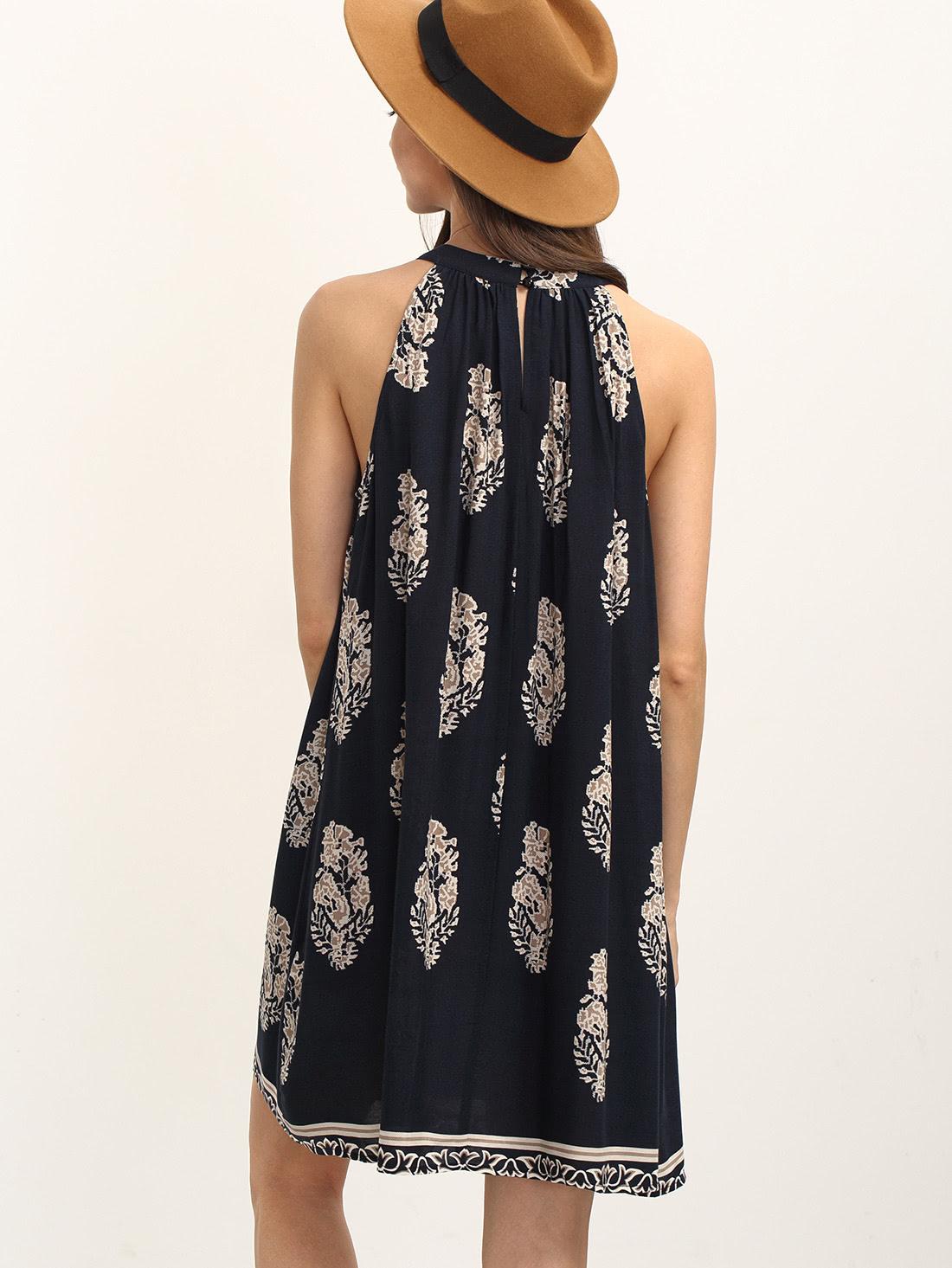 Wholesale quality crew neck printed shift dress hogwarts