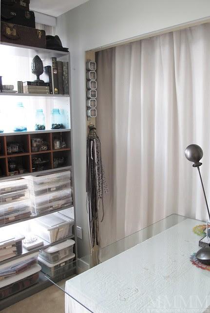 studio curtain drawn