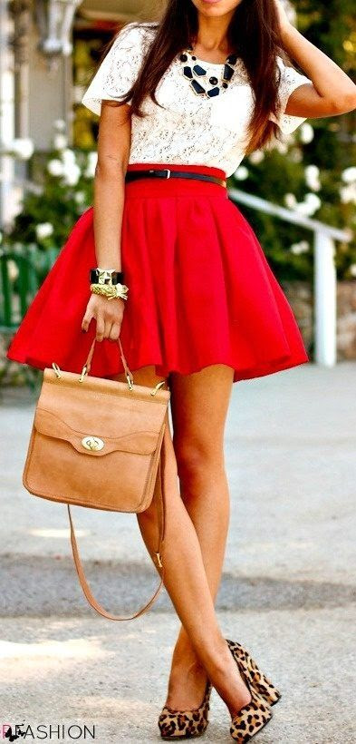 Lace Top & Red Skirt