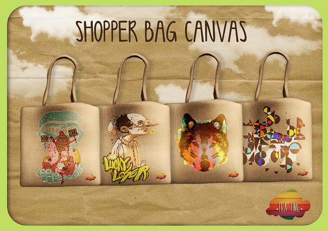 SHOPPER BAG CANVAS *Tea Time* NEW!!!