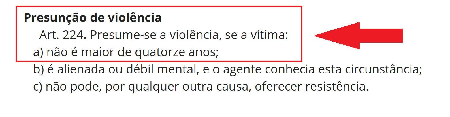 Estupro - artigo 224 do Código Penal