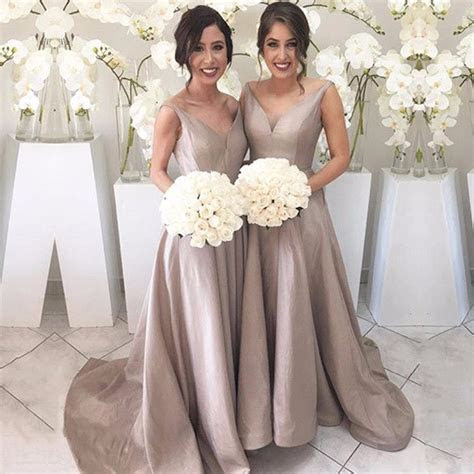 Fashion Women Champagne Bridesmaid Dresses Sexy V Neck