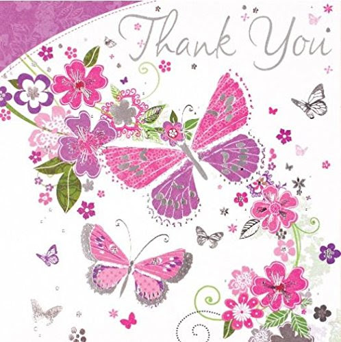 6 Thank You Cards With Envelopes Butterflies Flowers By Simon