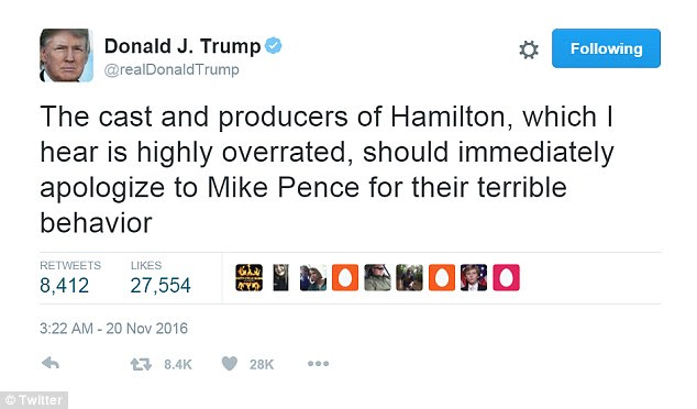 Even though Pence said he wasn't offended by the cast, Donald Trump took to Twitter to sound off