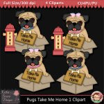 Pugs Take Me Home 1 Clipart - CU