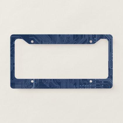 Blue Geek Motherboard Circuit Pattern License Plate Frame