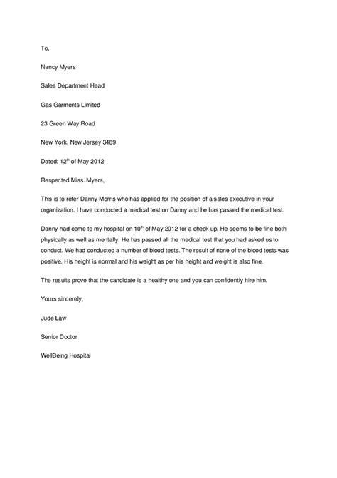 Medical Refferal Letter - Cover letter samples - Cover