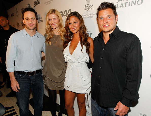 (L-R) NASCAR driver Jimmie Johnson, Chandra Johnson, TV personality Vanessa Minnillo and singer/TV personality Nick Lachey attend the Super Skins Kick Off Party at Hotel 944 featuring Snoop Dogg at The Eden Roc Renaissance Miami Beach on February 4, 2010 in Miami Beach, Florida.