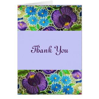 Purple -blue Hungarian embroidery Thank You Greeting Cards