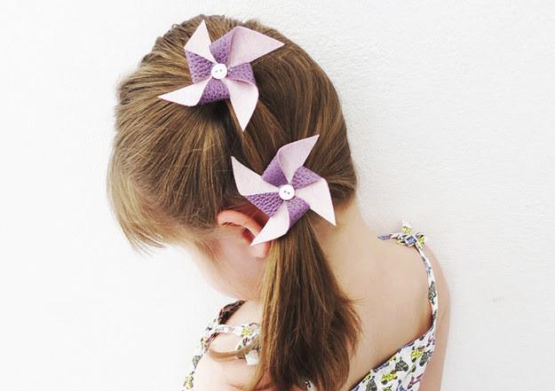 15. Зажимы для волос в виде вертушек дети, поделки, своими руками, сделай сам, творчество