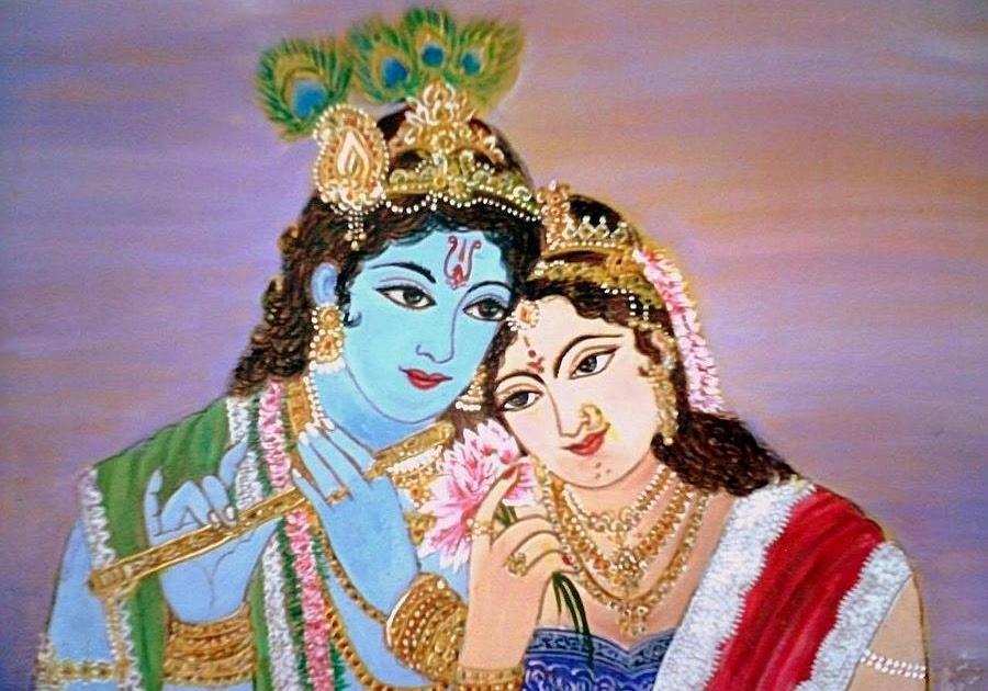 Lord Krishna Radha Krishna Drawing With Colour