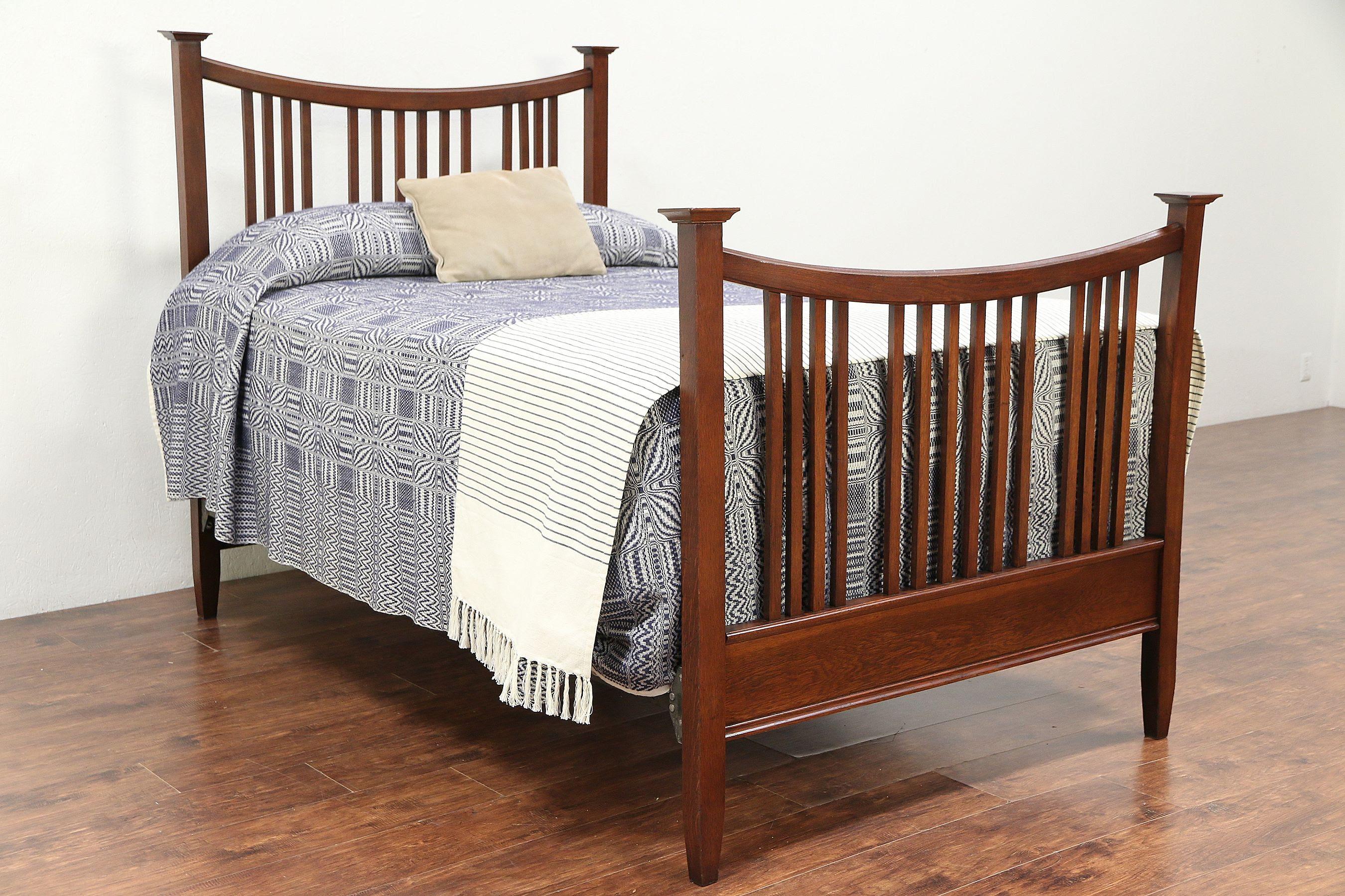 Sold Arts Crafts Mission Oak Full Size Antique 1905 Craftsman Bed 29293 Harp Gallery Antiques Furniture