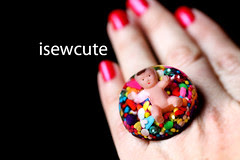 candy from a baby giant handmade resin dome and real sprinkles ring I made by isewcute
