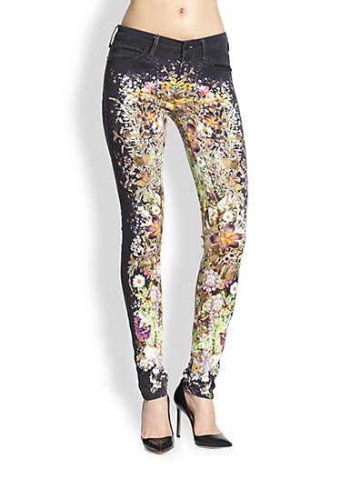Mother The Looker Floral Skinny Jeans