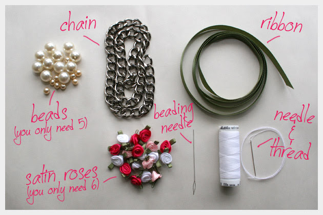 DIY RIbbon Chain Bracelet Supplies