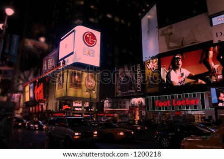 new york city time square at night. New York City Time Square
