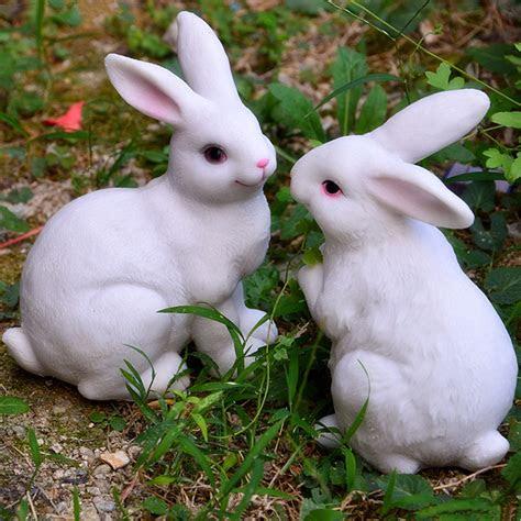 pieces white color resin rabbits garden home decoration