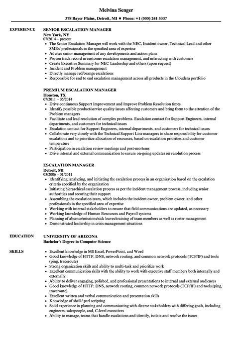 escalation manager resume samples velvet jobs