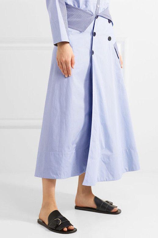 Le Fashion Blog Under 500 Perfect Spring Skirt Poplin Midi Skirt Via Net A Porter
