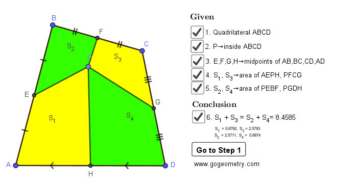 Dynamic Geometry Problem 1464: Quadrilateral, Interior Point, Midpoint of Sides, Equal Sum of Areas, Step-by-step Illustration, iPad.