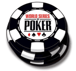 Poker chip with the WSOP logo.