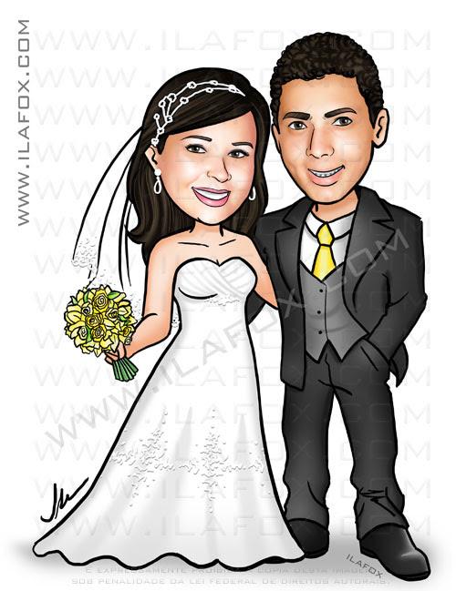 caricatura personalizada, caricatura casal, caricatura noivinhos, caricatura para casamento, by ila fox