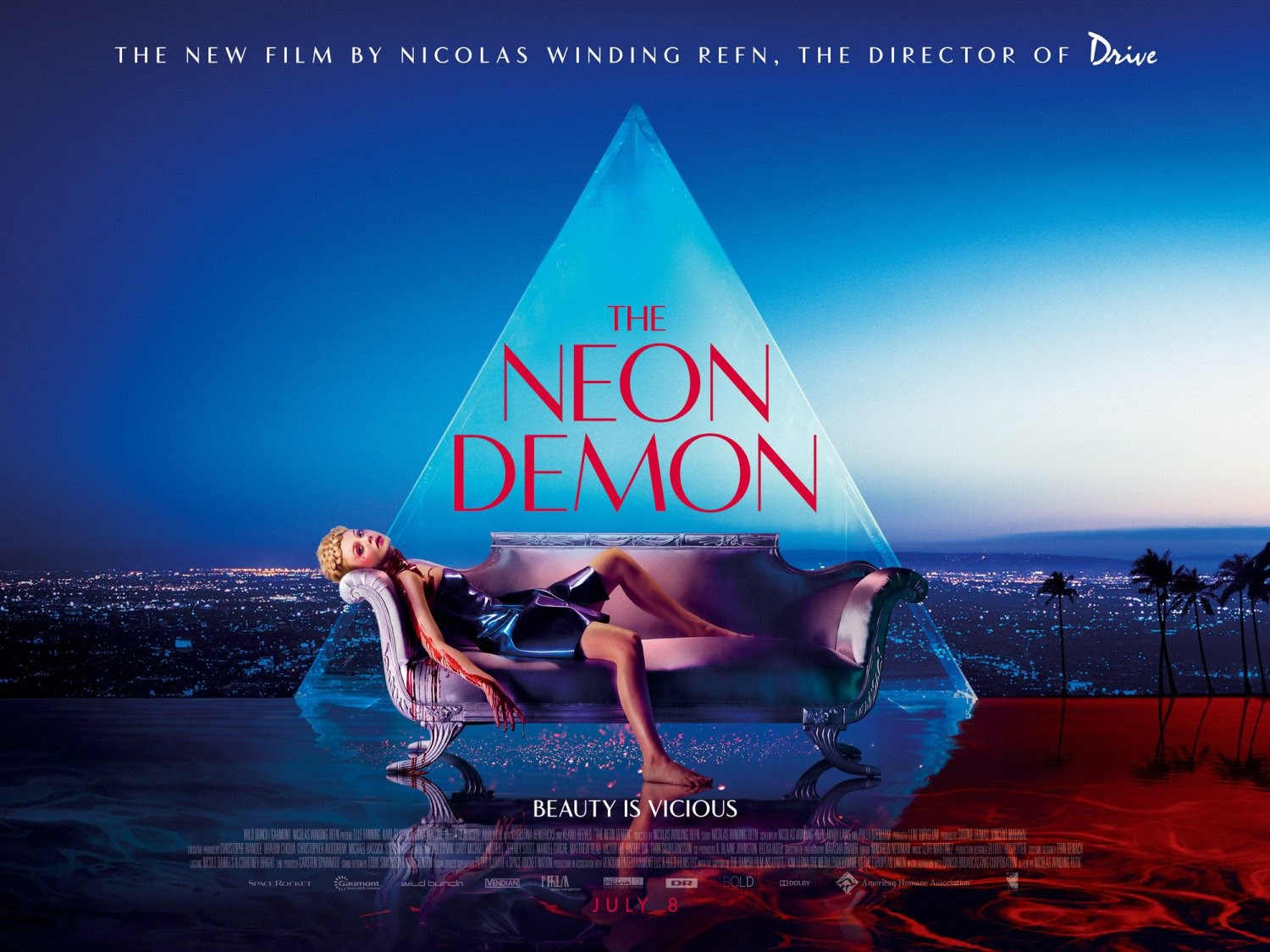 """The Neon Demon is a film about """"an aspiring model in Los Angeles whose beauty and youth place her in significant danger amongst the women she becomes associated with in the industry, who are murderous and dangerous"""". In short, it is about the Satanic industry. In this poster, the model is laying bloody while the elite's pyramid is in the background."""