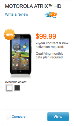 Motorola Atrix HD now on sale at AT&T $100 on contract for LTE, 720p and ICS