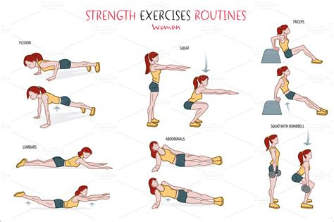 strength exercise routine illustrations  creative market