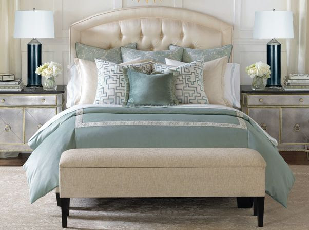 Central Park Collection from Eastern Accents - Classic shimmering metallic, embroidered linens, and tranquil blue tones - Available through The Danville Interior Design Gallery.