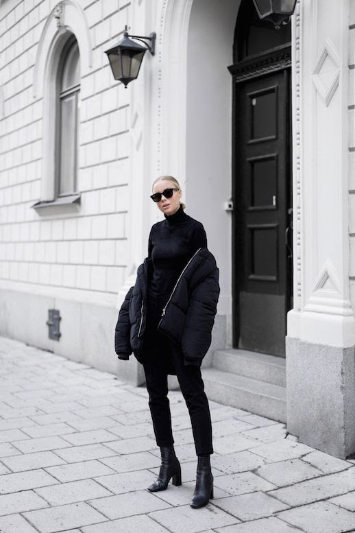 Le Fashion Blog Black Sunglasses Turtleneck Sweater Padded Bomber Jacket Black Trousers Heeled Boots Via Victoria Tornegren